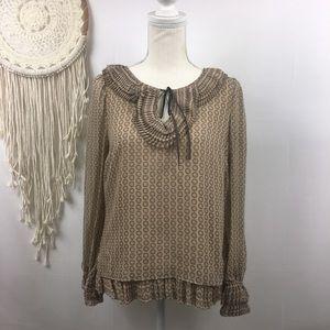 Anthropologie Leifsdottir Brown Silk ruffle blouse
